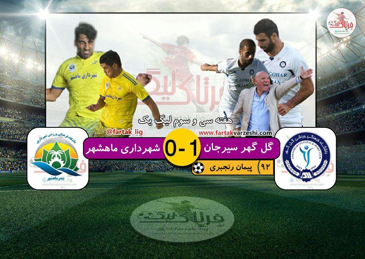رنجبری شهرداری ماهشهر را سقوط داد/ گل گهر لیگ برتری شد