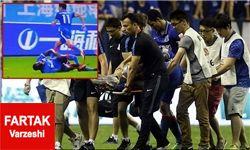 شکستگی فجیع ساق پای مهاجم سابق چلسی در لیگ چین+عکس