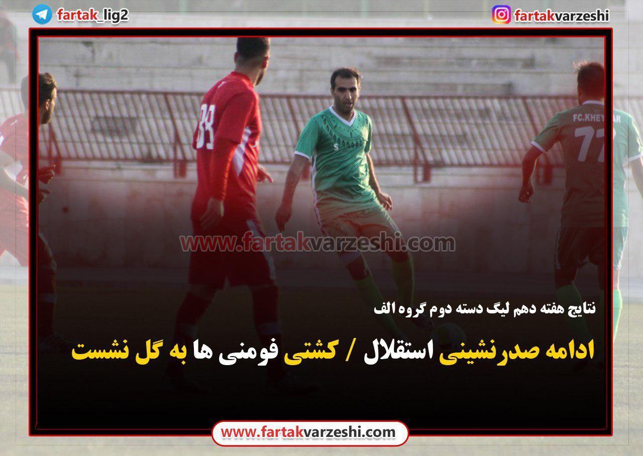 ادامه صدرنشینی استقلال / کشتی فومنی ها به گل نشست!+ جدول