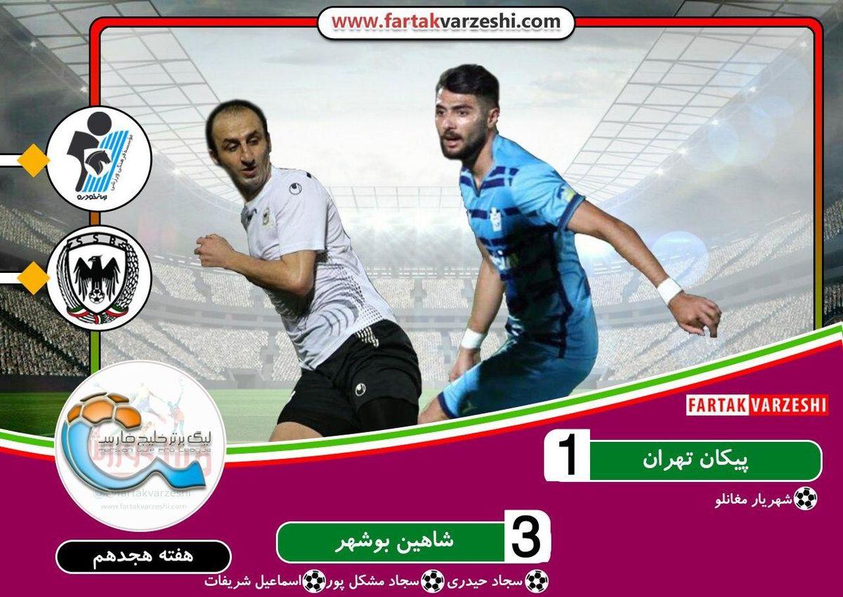 پیکان 1  شاهین بوشهر 3 | پیکان در خانه پنچر شد /  شاهین شهرداری بالاخره برد و دو رقمی شد