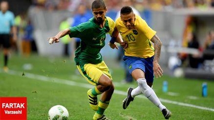 توقف برزیل با نیمار مقابل آفریقای جنوبی