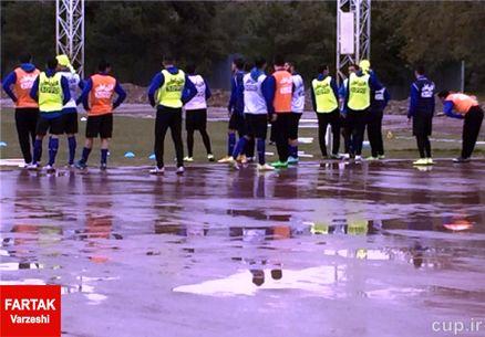 باران تمرین استقلال را تعطیل کرد