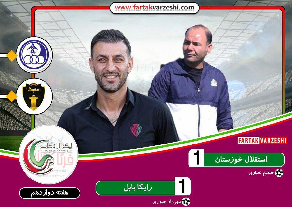 استقلال خوزستان ۱-۱ رایکا بابل؛سهراب با آبی پوشان همچنان امتیاز میگیرد