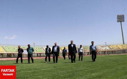 وضعیت مطلوب چمن ورزشگاه باهنر در بازدید از این استادیوم(عکس)